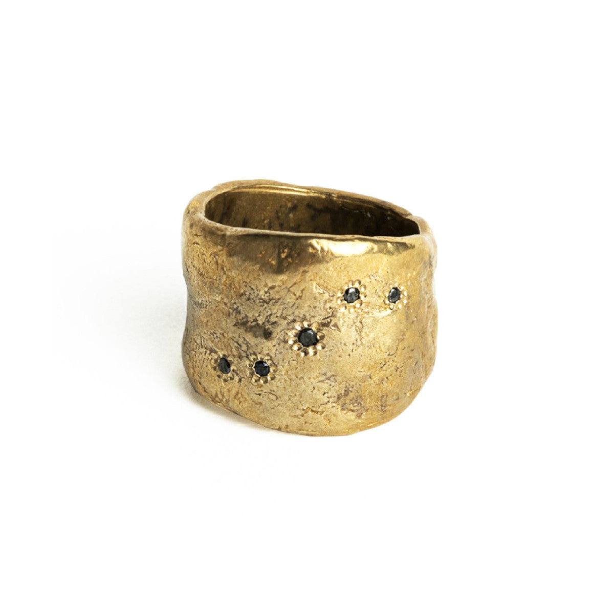 Bronze 5 Diamonds Wide Ring