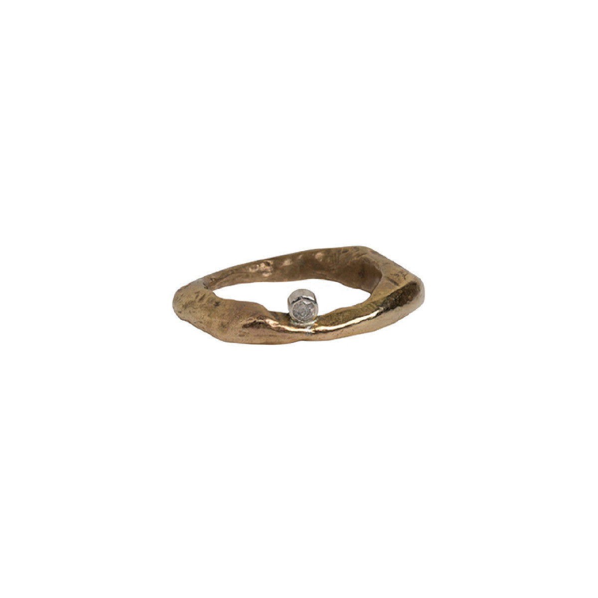 Bronze Mystic Stone Ring with 2.5 White Diamond