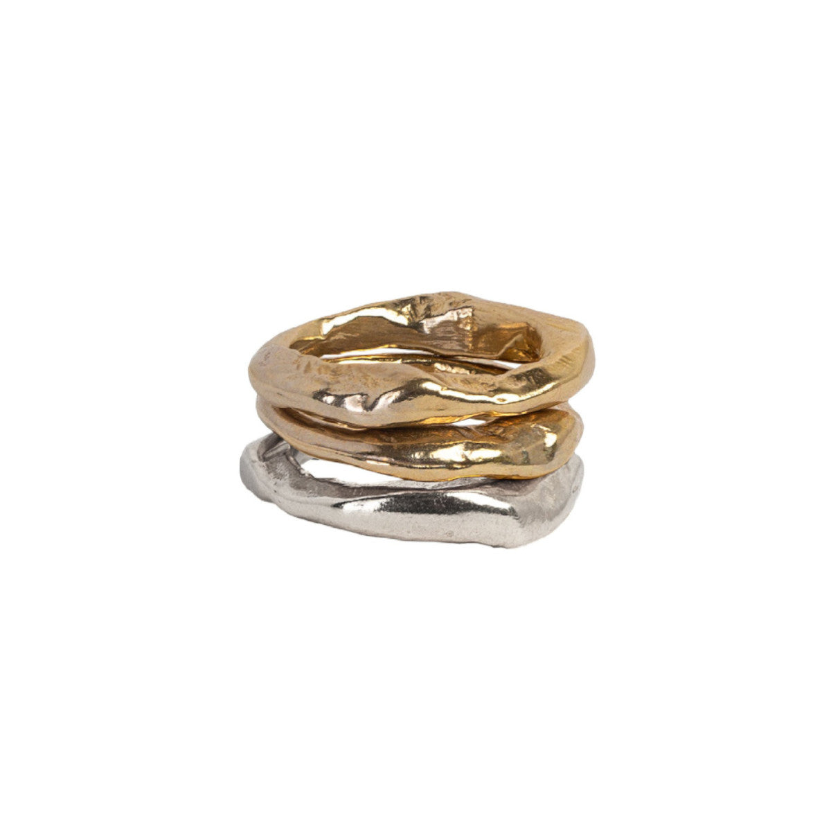 Mixed Metals Stone Stacking Rings Combination 1