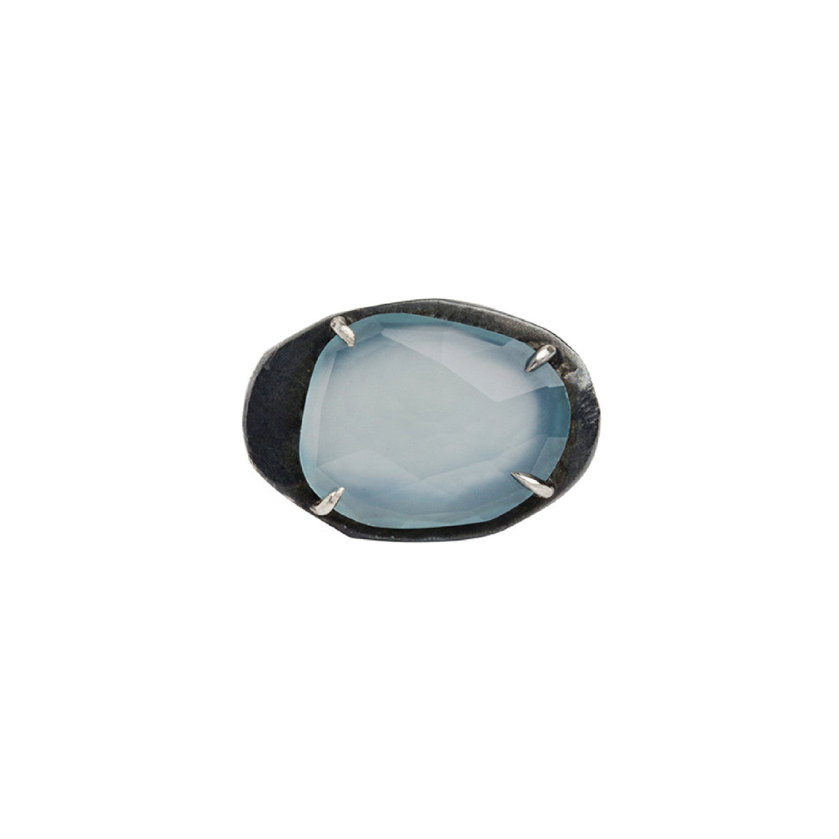 Mystic Small Chalcedony Gemstone Oval Ring