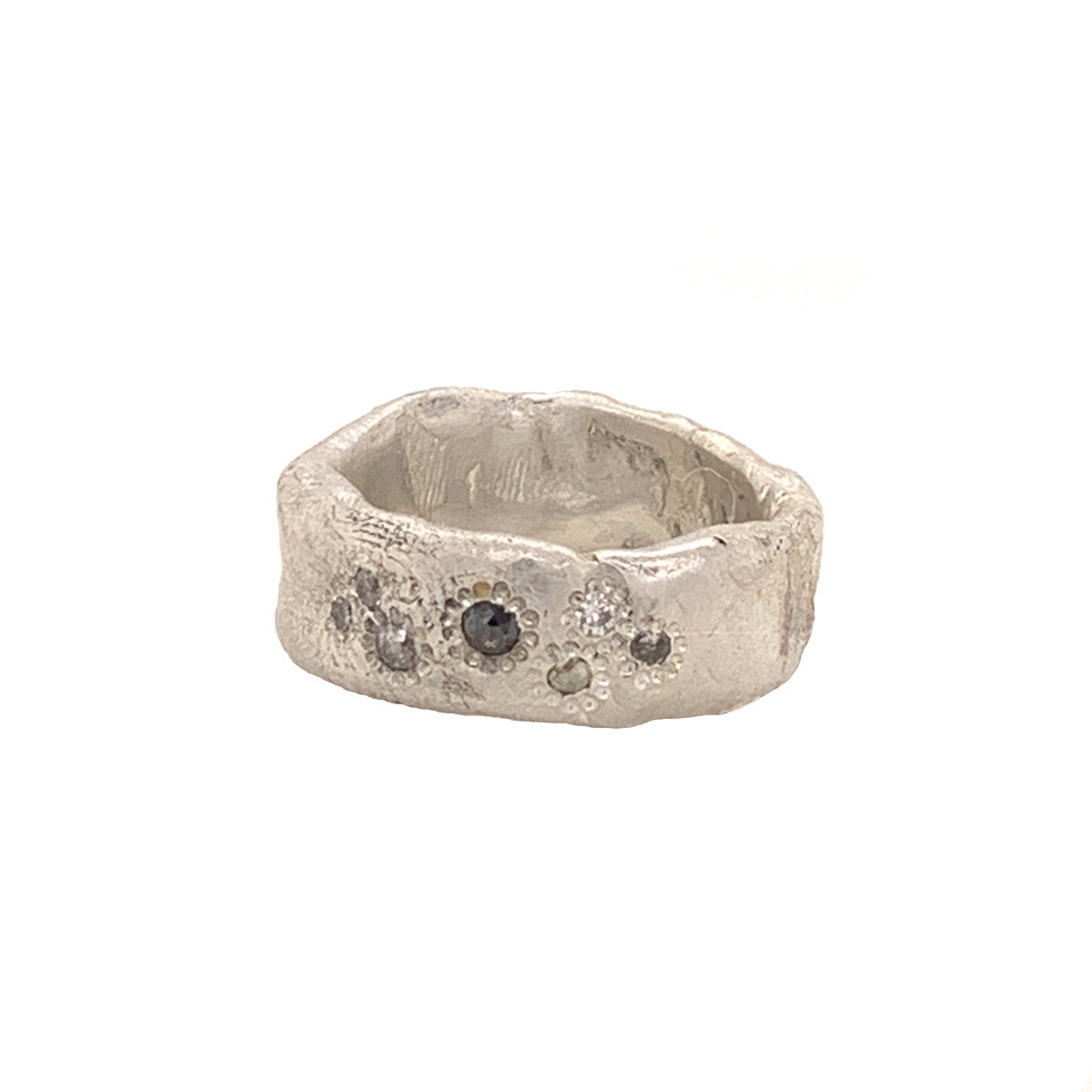 Salt and Pepper Diamond Wide Band Ring