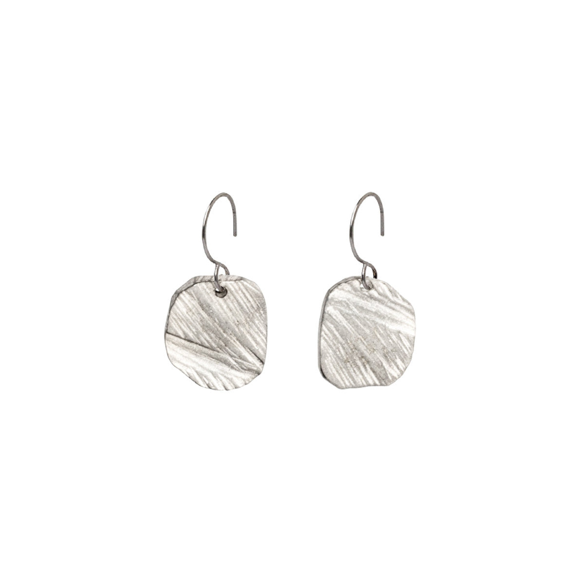 Silver Elemental Square Drop Earrings