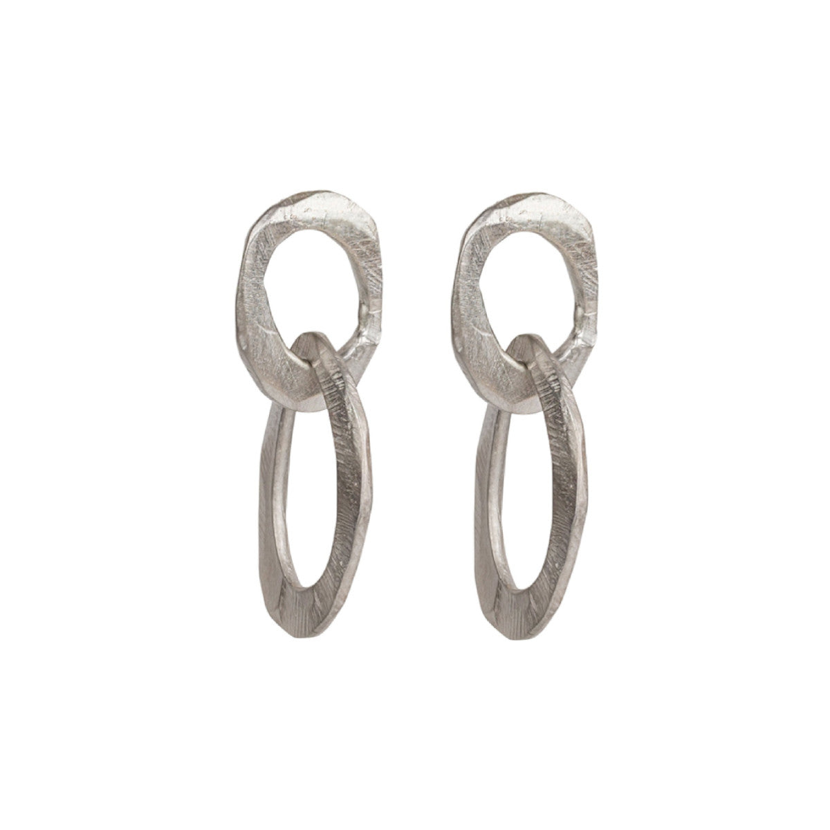 Silver Skipping Stones Double Oval Earrings