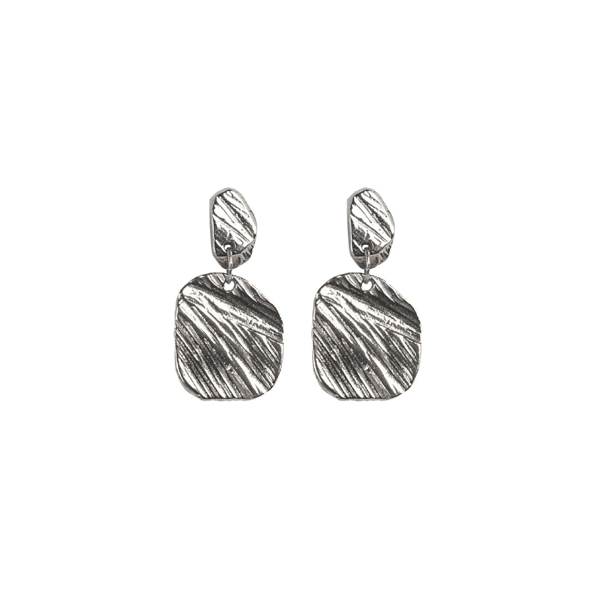 Silver Square Drop Earring