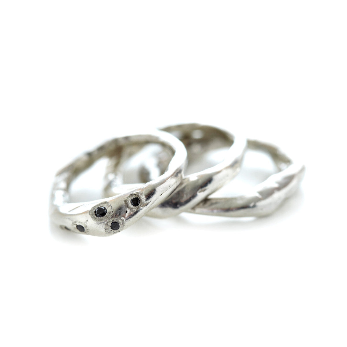 Silver Stacking Set with Black Diamonds