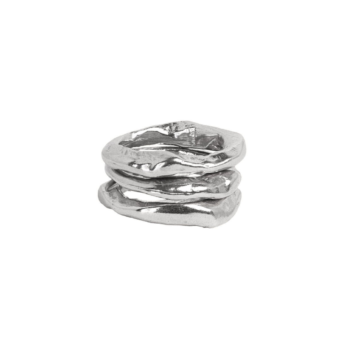 Silver Stone Stacking Rings