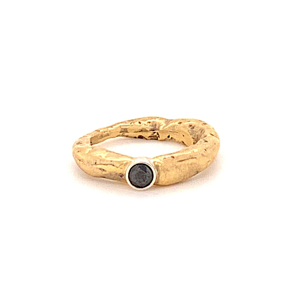 18k Gold Stone Ring with Black Diamond