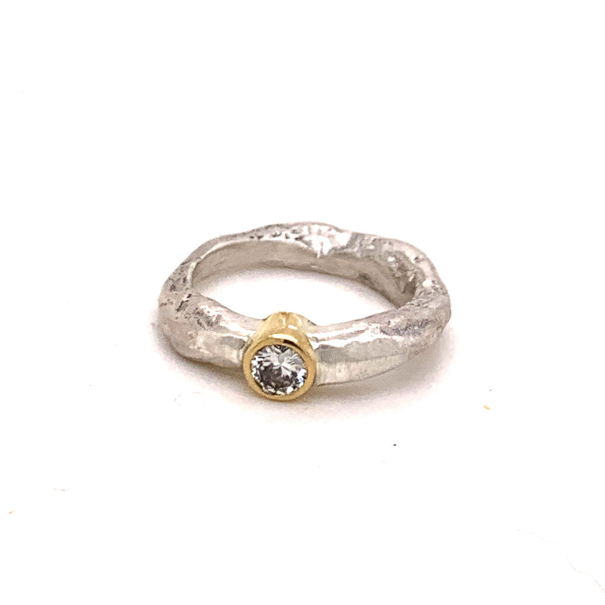 14k White Gold Stone Ring with White Diamond