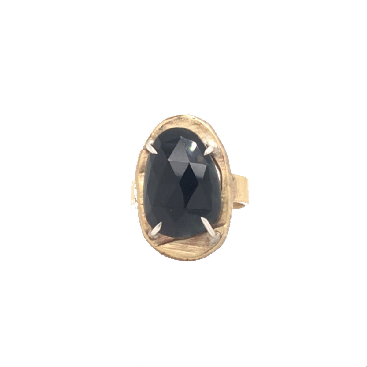 Mystic Black Tourmalinated Quartz Small Vertical Oval Ring