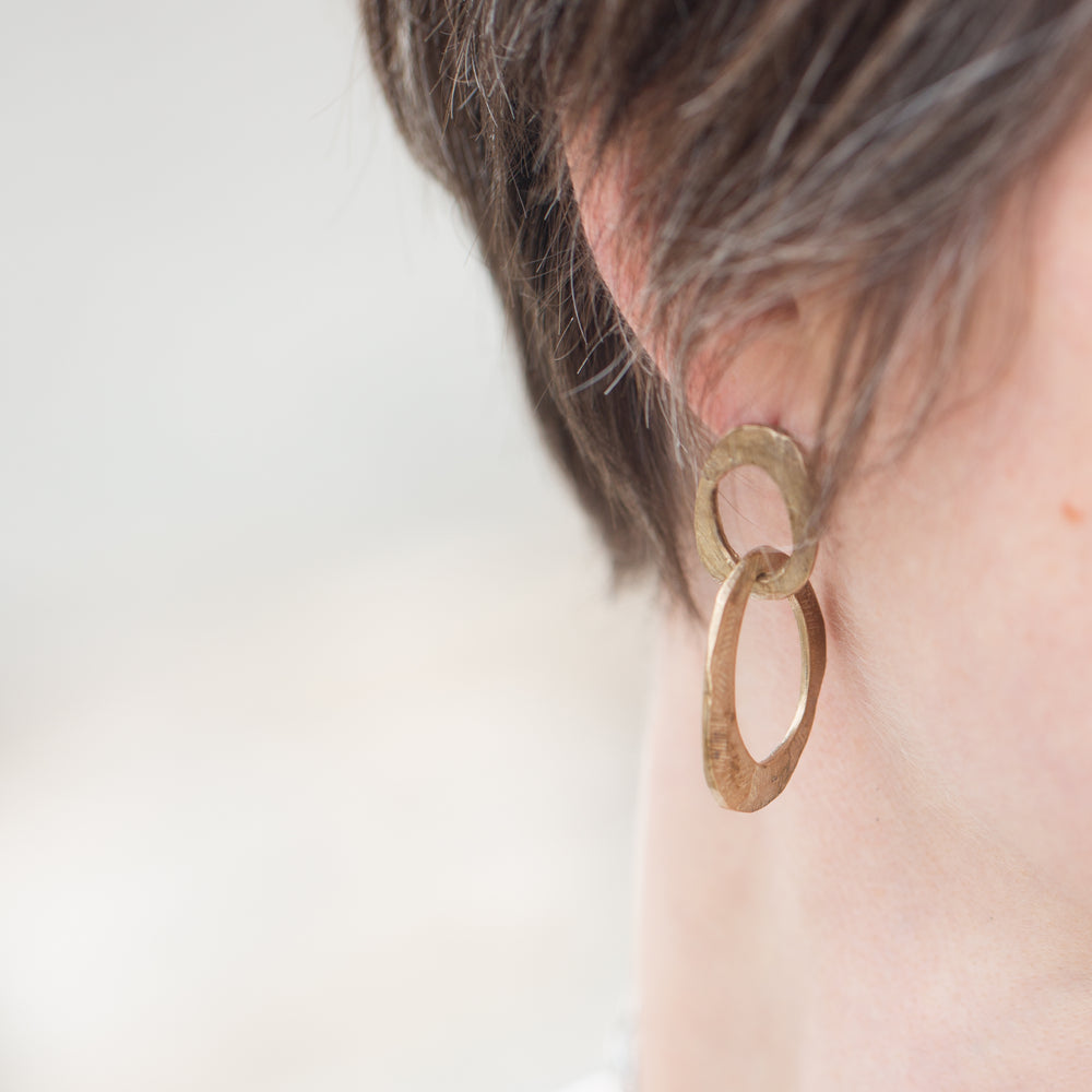 Bronze Skipping Stones Double Oval Earrings-Chikahisa Studio
