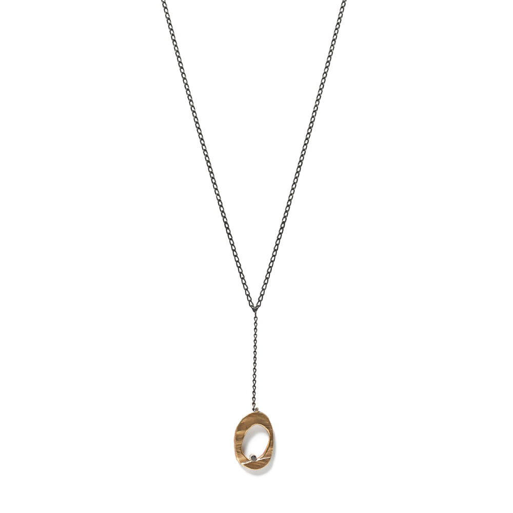 Bronze Mystic Oval Y Necklace with Diamond-Chikahisa Studio