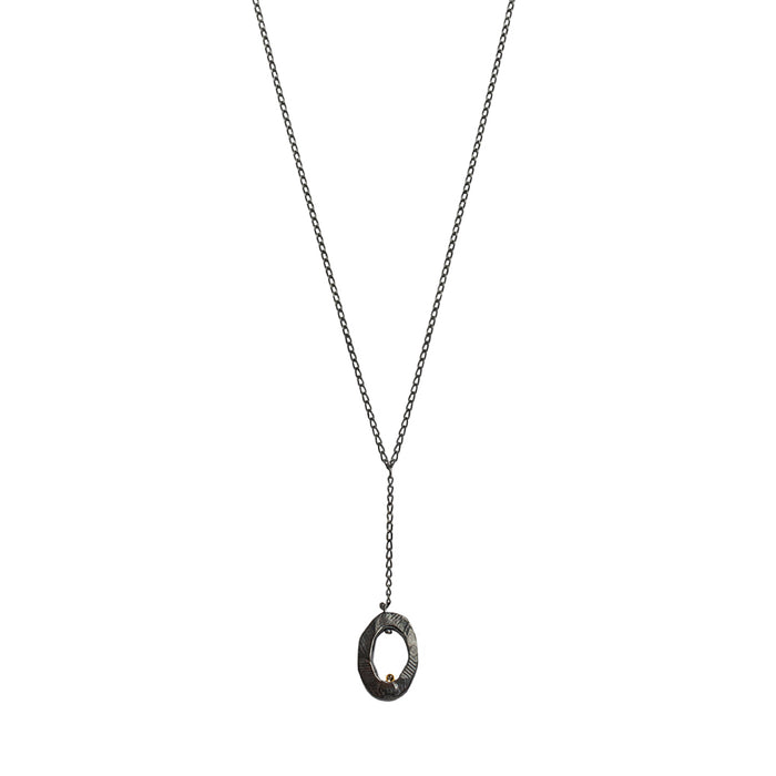 Oxidized Silver Mystic Oval Y Necklace with Diamond-Chikahisa Studio