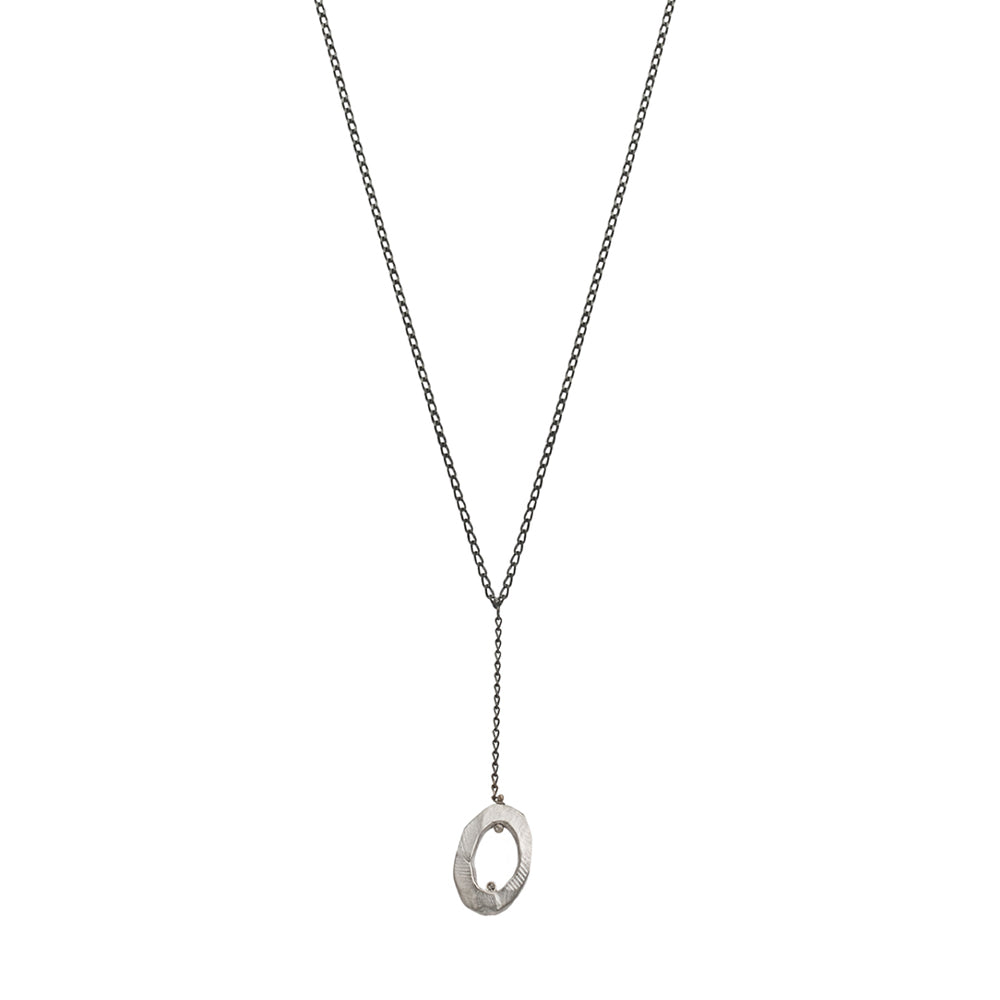 Silver Mystic Oval Y Necklace with Diamond-Chikahisa Studio