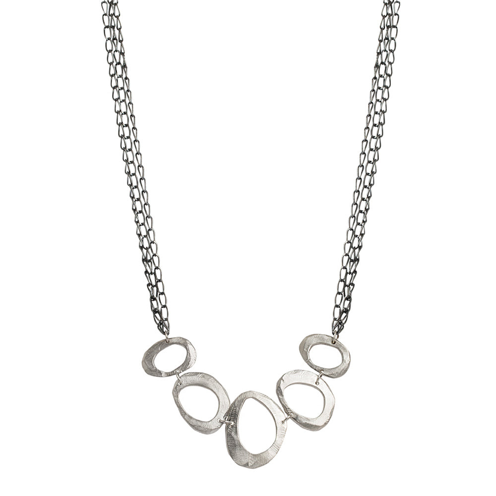 Silver Mystic Oval Statement Necklace-Chikahisa Studio
