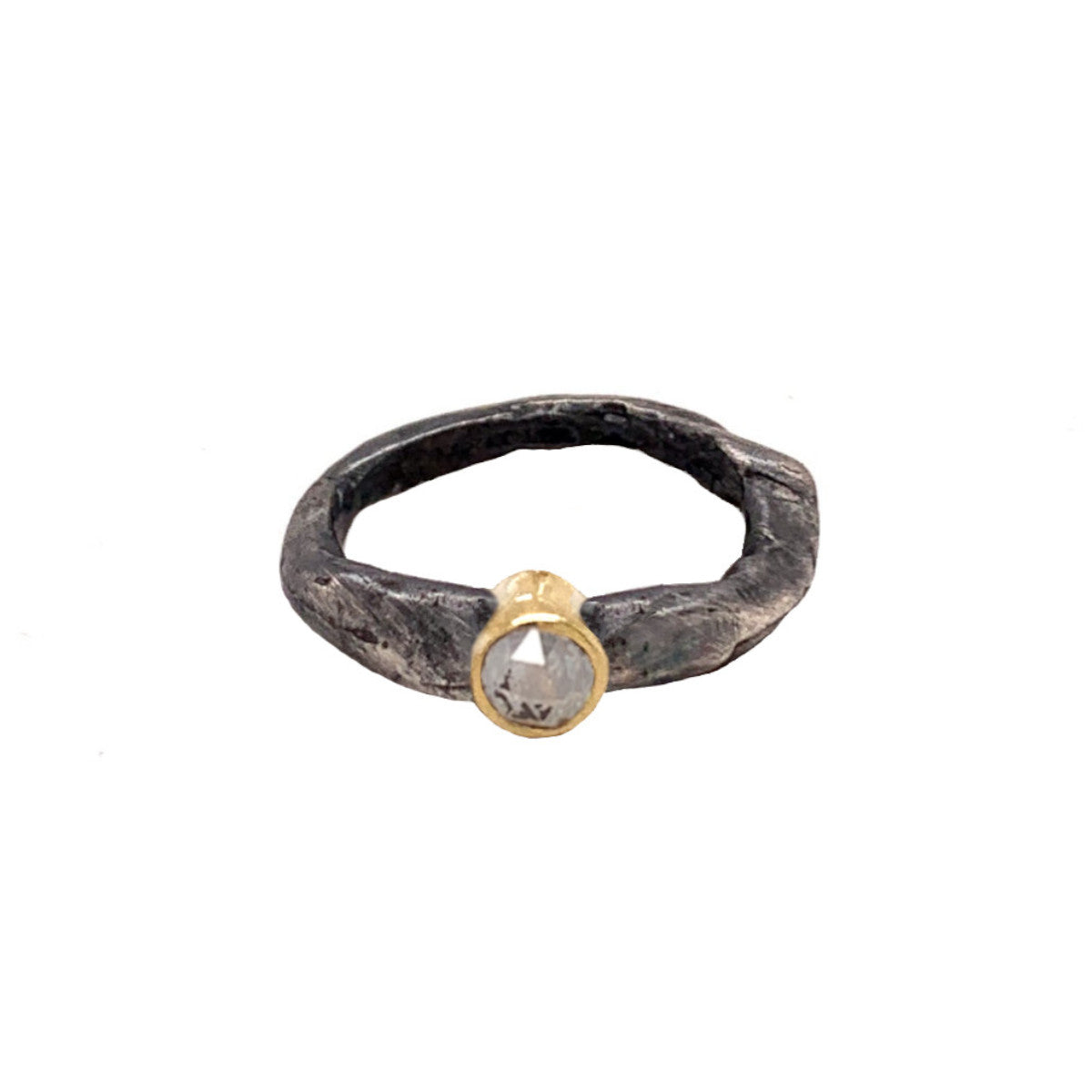 Oxidized Silver Stone Ring with Salt & Pepper Diamond