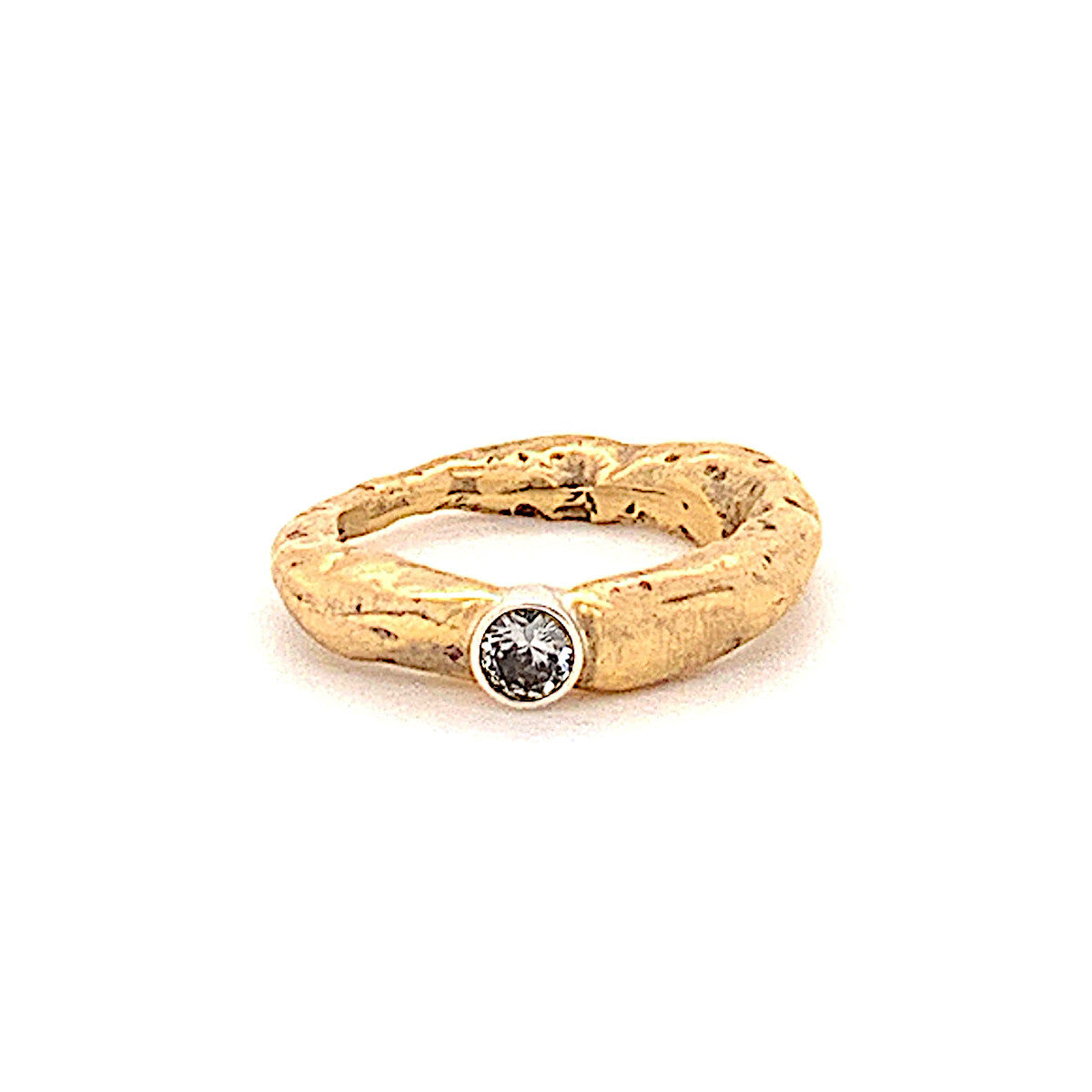 18k Gold Stone Ring with White Diamond