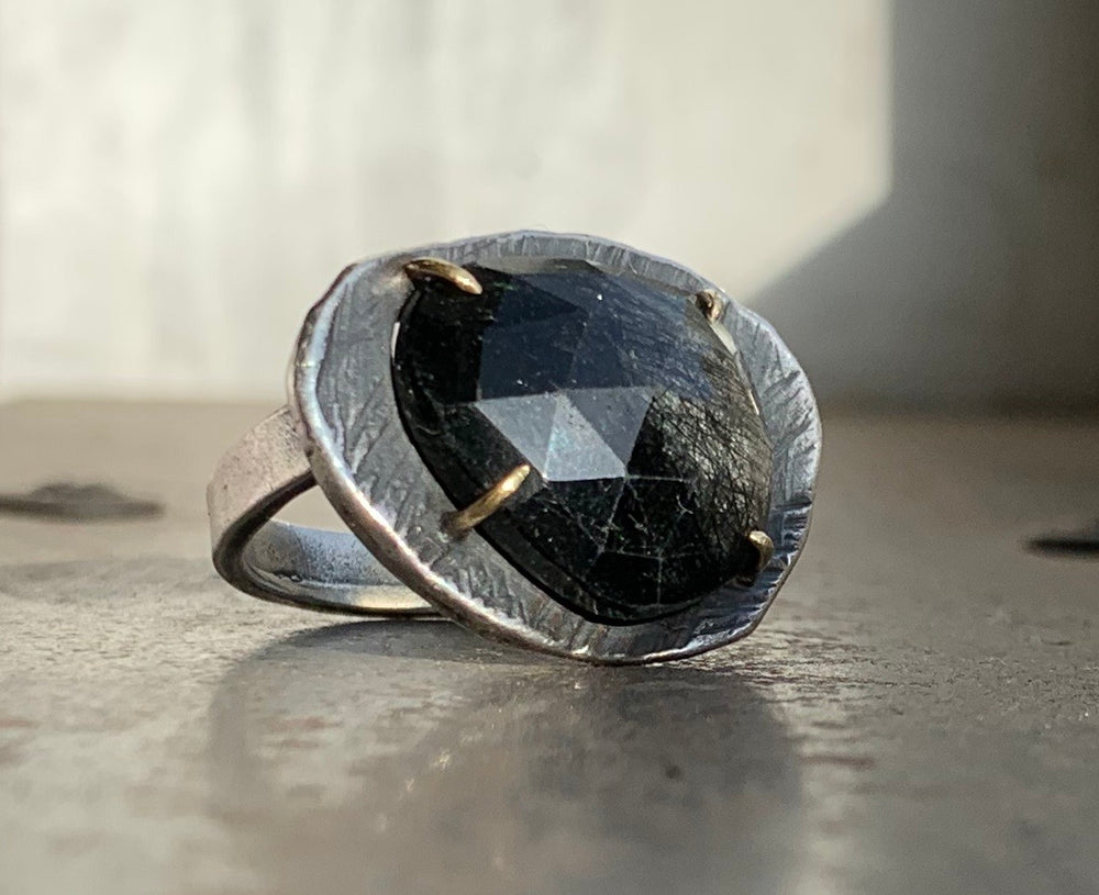Black Tourmalinated Quartz Mystic Medium Gemstone Ring