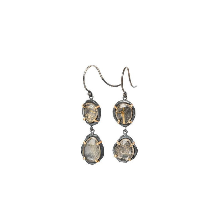 Strata Double Rutilated Quartz Drop Earrings-Chikahisa Studio