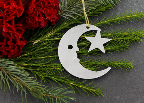 Moon & Star Metal Ornament