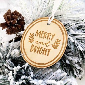 Merry & Bright Wooden Ornament