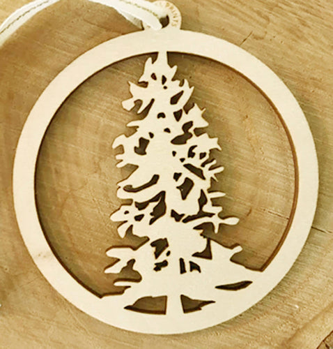 Pine Tree Wood Ornament