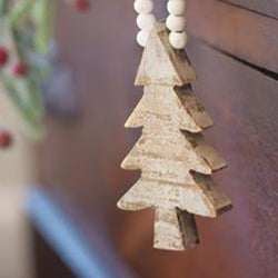 Distressed Wood Tree Beaded Ornament