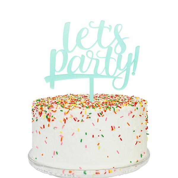 Let's Party Cake Topper - Aqua