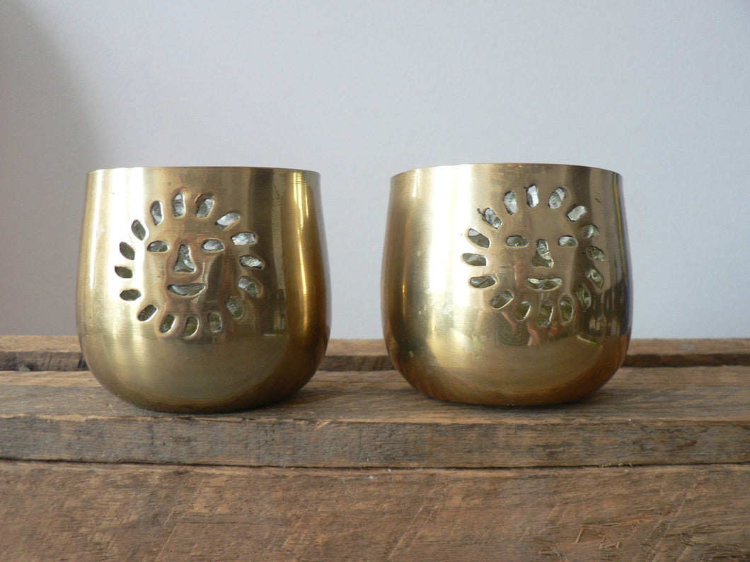 Happy Sun Brass Votive Holder