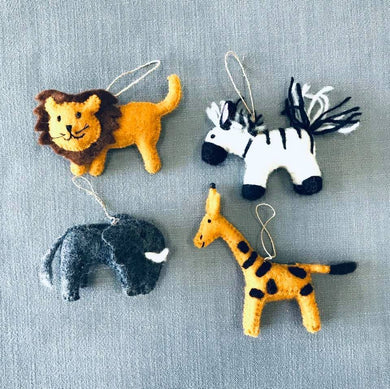 Felt Jungle Animal Ornament - Zebra