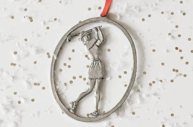 Pewter Female Golfer Ornament