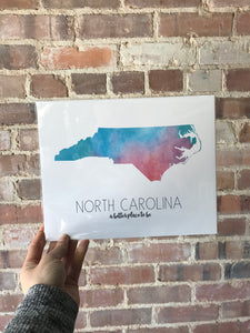 NC Watercolor Print