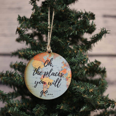 Oh The Places Map Ornament
