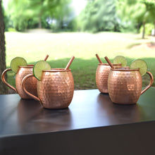 Load image into Gallery viewer, Handcrafted Copper Mug with Straw