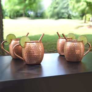 Handcrafted Copper Mug with Straw