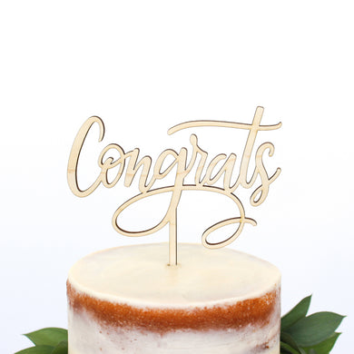 Congrats Wood Cake Topper