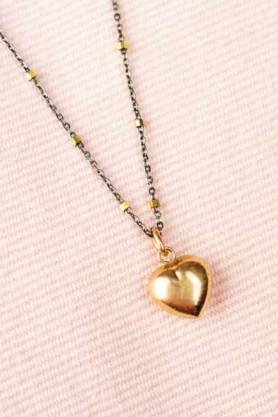 Vintage 14k Gold Heart Necklace Oxidized Sterling Chain