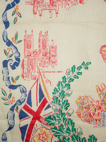 Vintage Coronation 1953 Linen Tea Towel