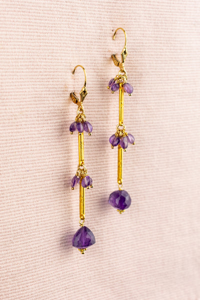 Vintage Amethyst and Gold Dangle Earrings