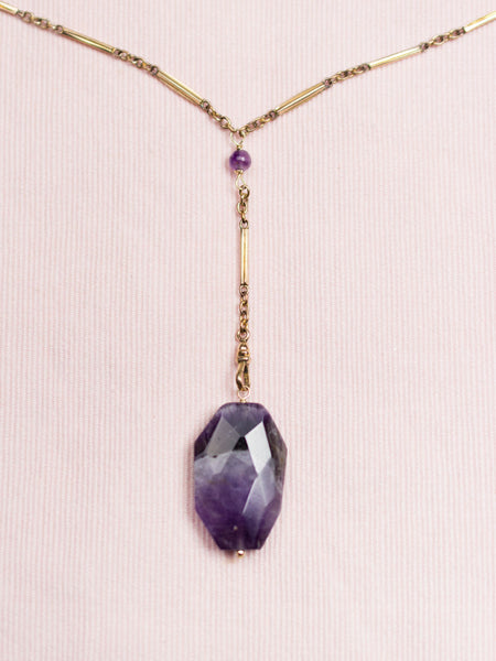 Antique Gold Fill Watch Chain & Amethyst Necklace