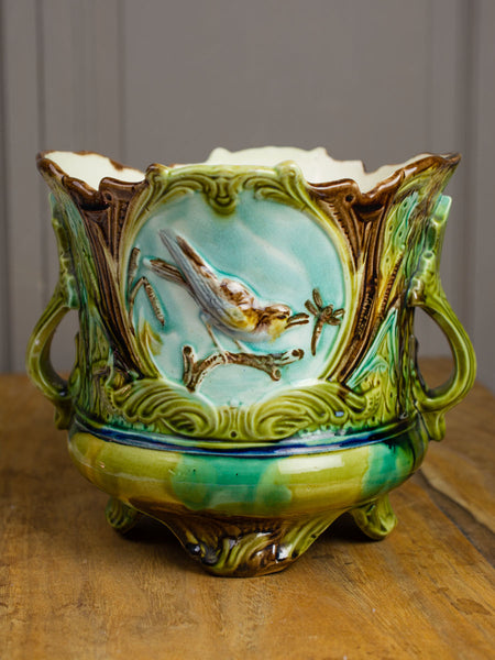 Antique French Majolica Cachepot