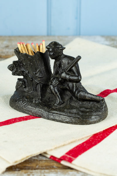 Antique Cast Iron French Hunter Match Strike