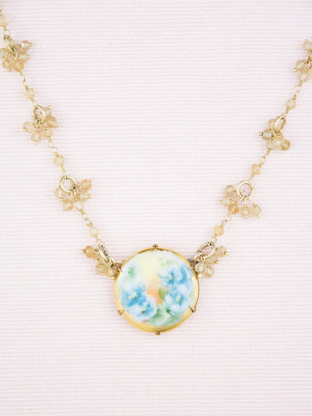 Antique Hand-Painted Porcelain & Citrine Necklace
