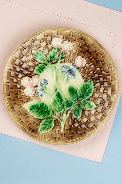Antique Majolica Basketweave Plate