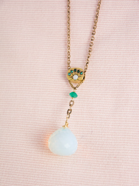 Antique Victorian Slide Necklace with Faceted Opal