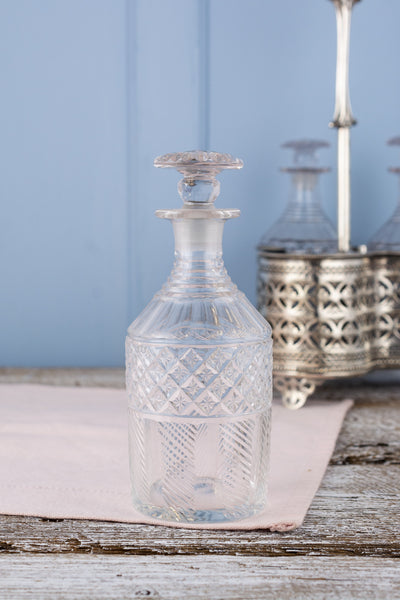 Antique Decanter Trio with Silverplate Caddy