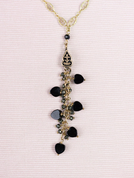 Antique Enamel Fob with Pyrite & Onyx Necklace