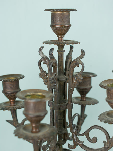 Antique French Bronze & Marble Candelabra Pair