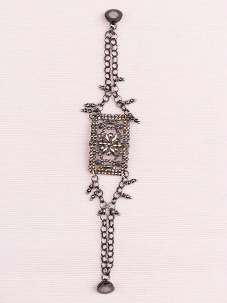 Antique French Oxydized Sterling Bracelet with Shoe Clip