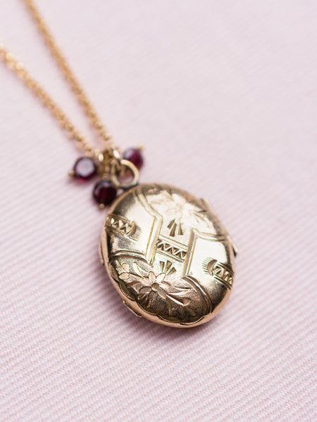 Antique Gold-Fill Locket With Amethyst Locket Necklace
