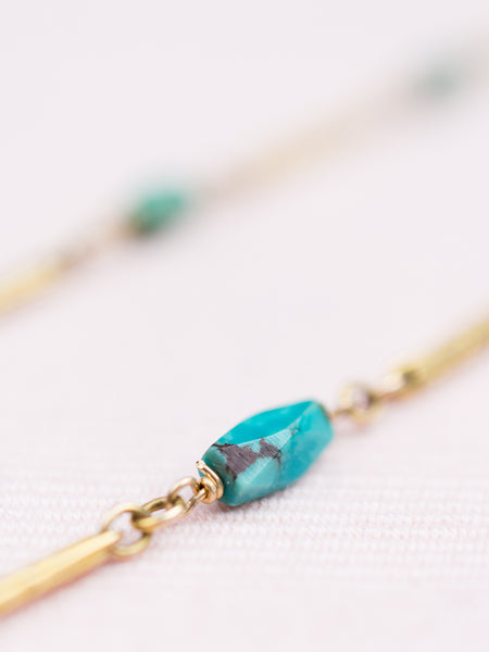 Antique Gold Fob Links with Turquoise Necklace
